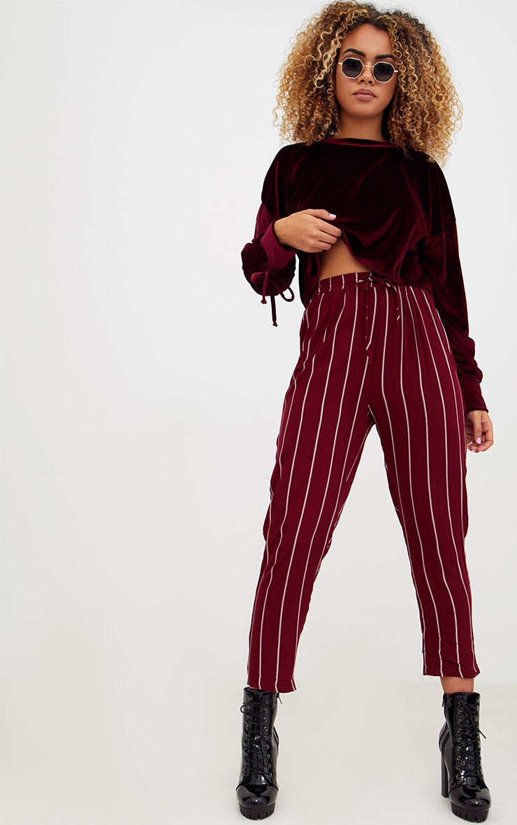 Burgundy Pinstripe Casual Trousers 1