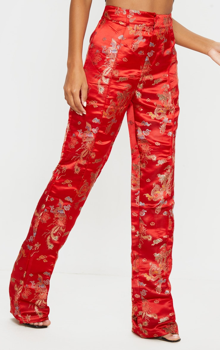 Red Jacquard Floral Straight Leg Trousers 2