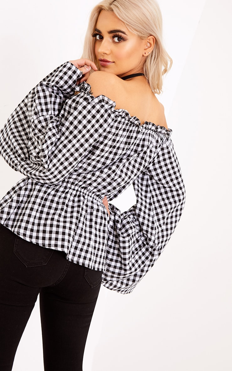 Nellie Black Gingham Check Bardot Top  2