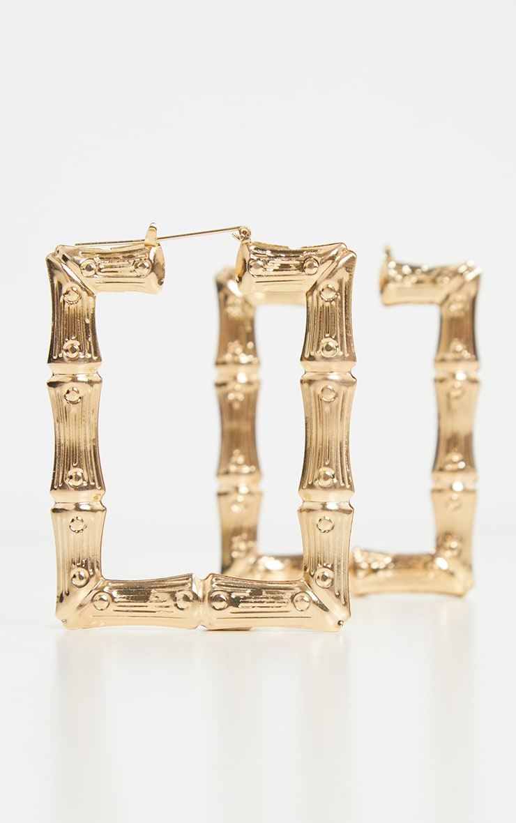 Gold Oversized Bamboo Square Hoop Earrings 2