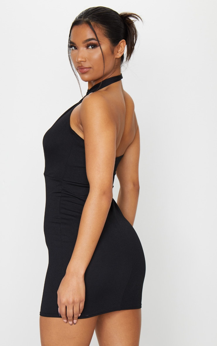 Black Cross Neck Bodycon Dress 2
