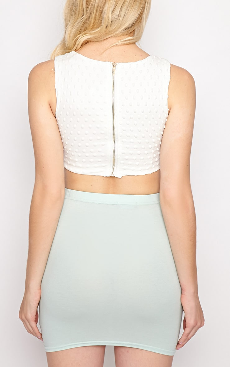 Halle White Textured Polka Dot Crop Top 2