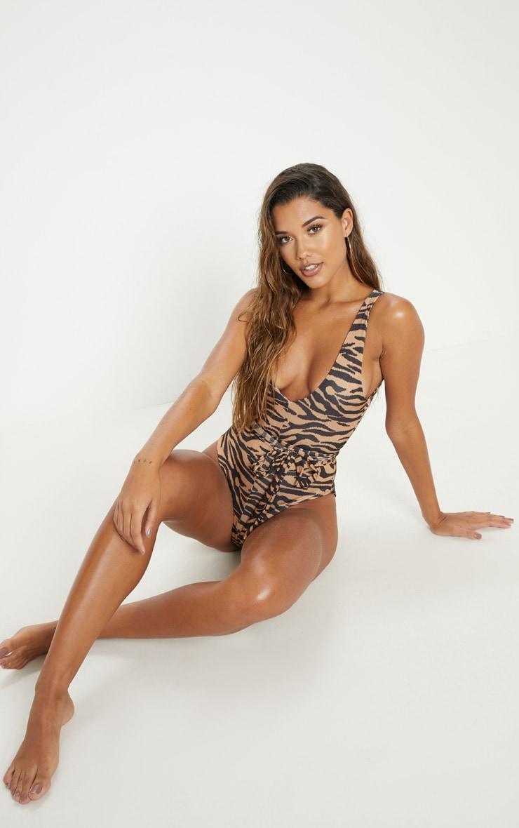 Nude Zebra Tie Waist Swimsuit 5