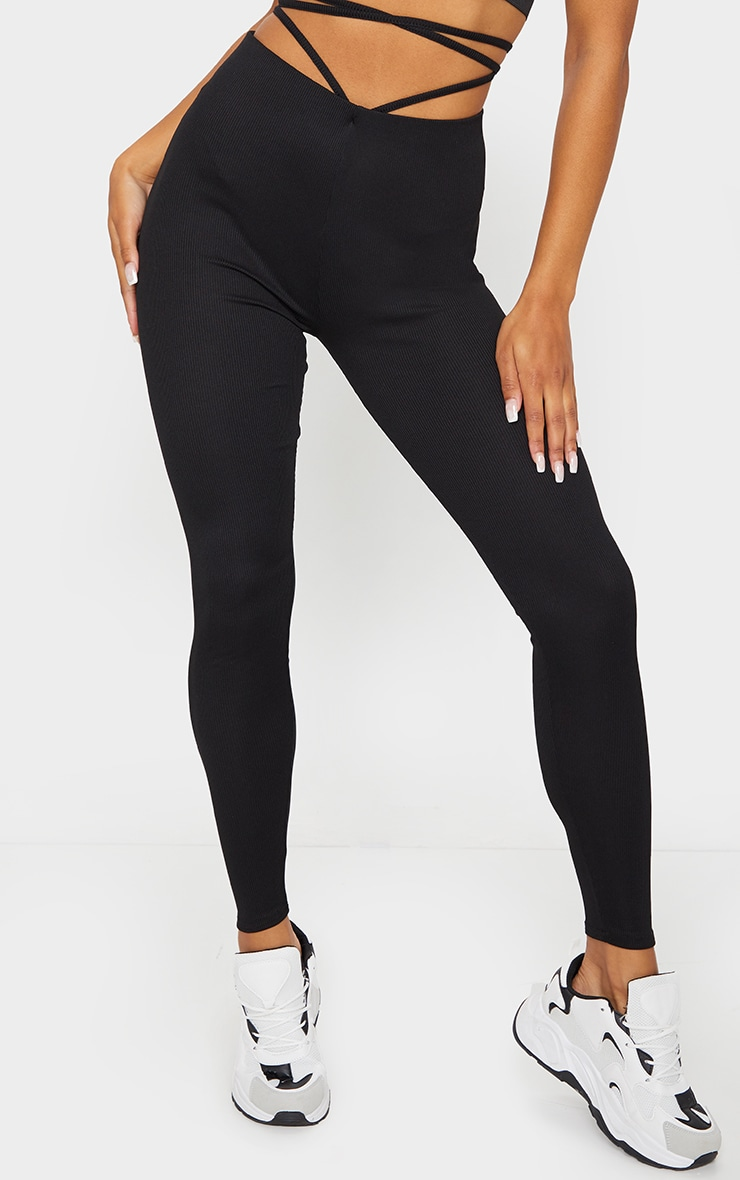 Black Tie Waist Detail Ribbed Leggings 2