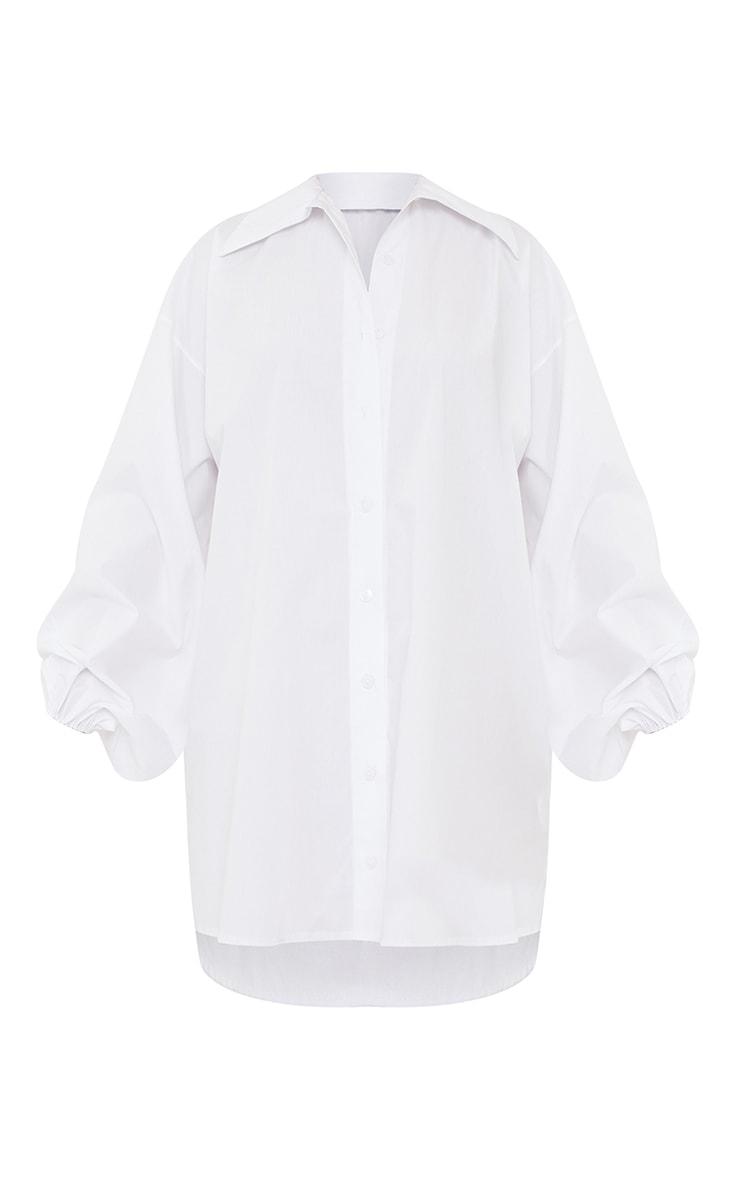 White Button Down Balloon Sleeve Drop Hem Shirt Dress 5