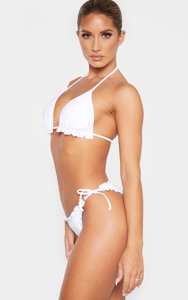 White Frill Edge Ruched Back Bikini Bottom 2