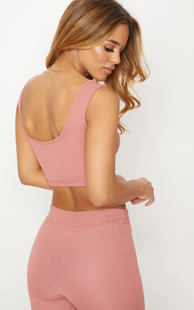 Petite Dusty Pink Ribbed Scoop Neck Crop Top 2