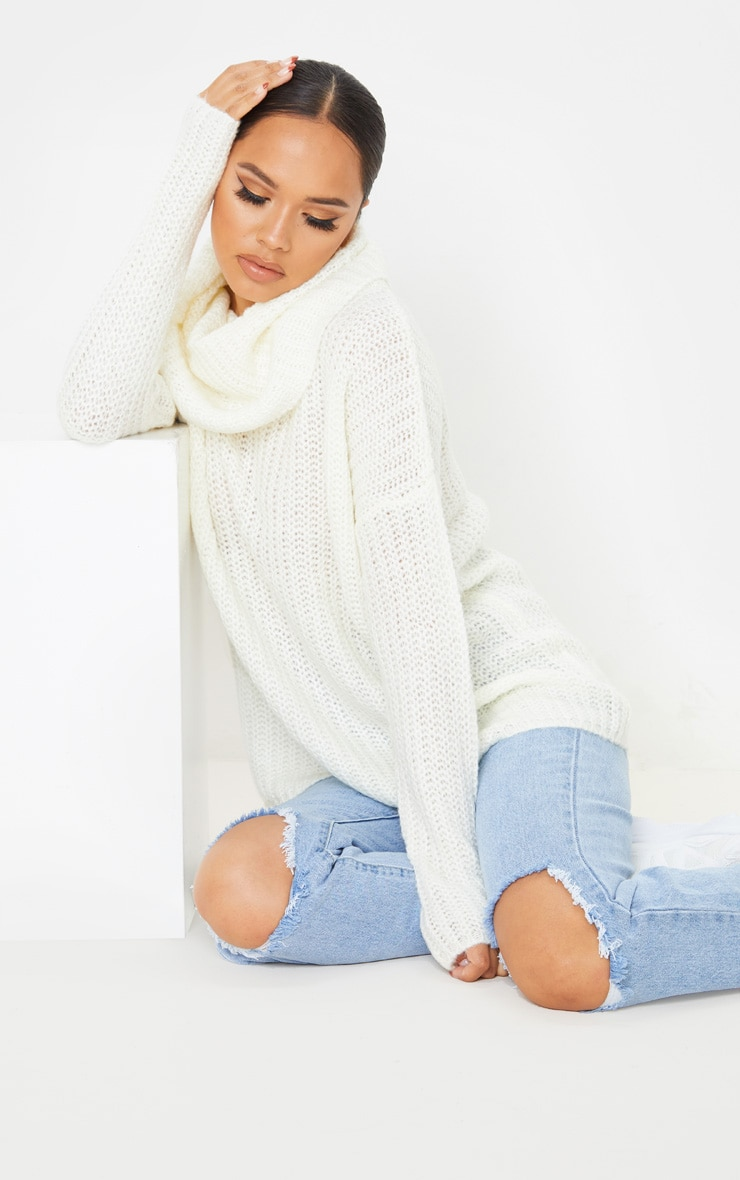 Cream Soft Knit Roll Neck Sweater 4