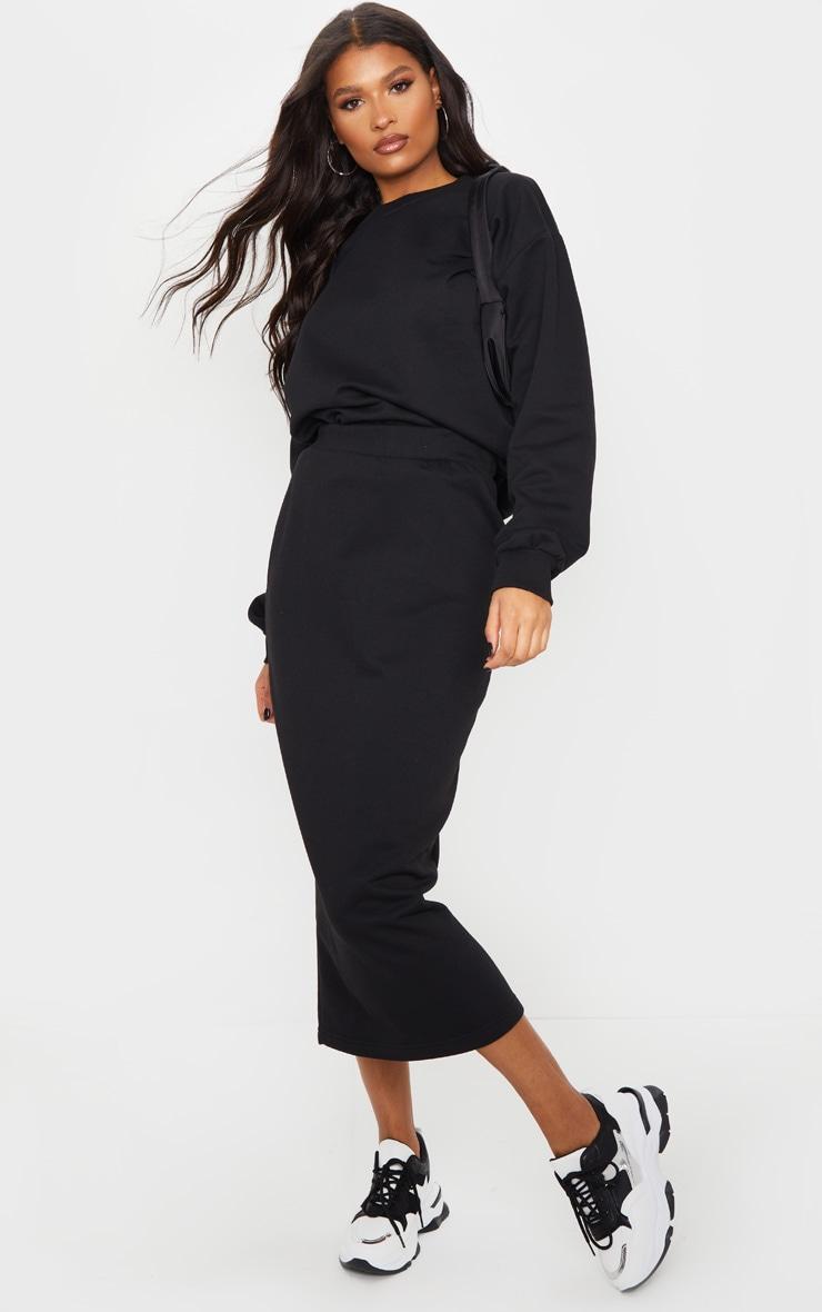 Black Crew Neck Sweater & Midi Skirt Set 1
