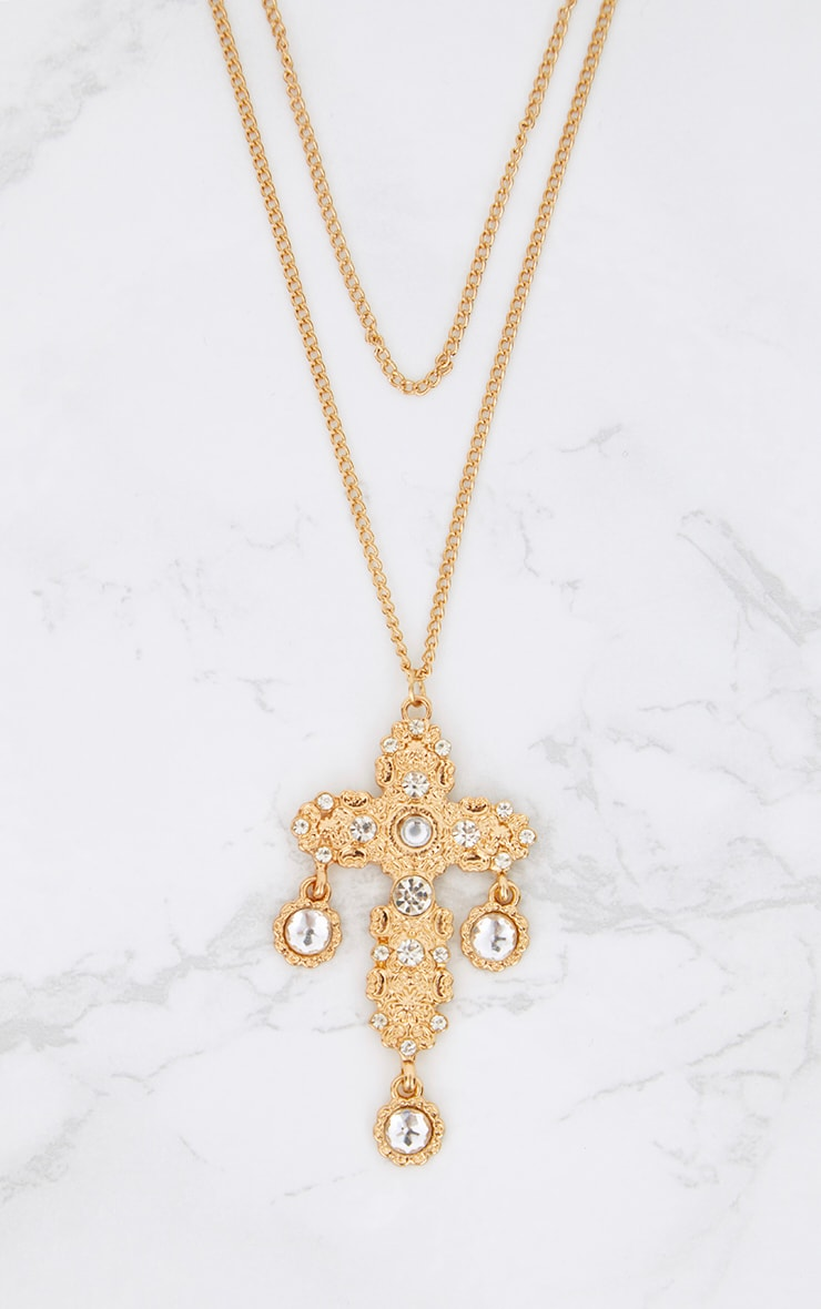 Gold Double Layer Statement Cross Necklace 2