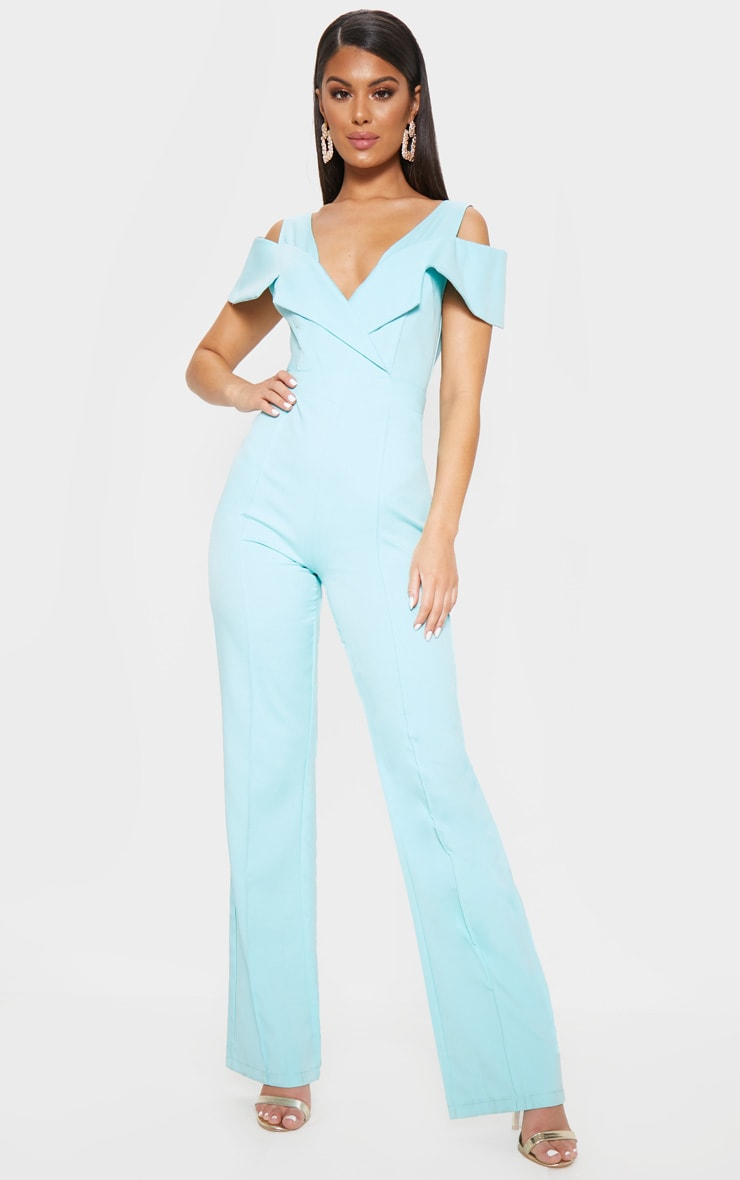Pastel Blue Lapel Detail Wide Leg Jumpsuit 1