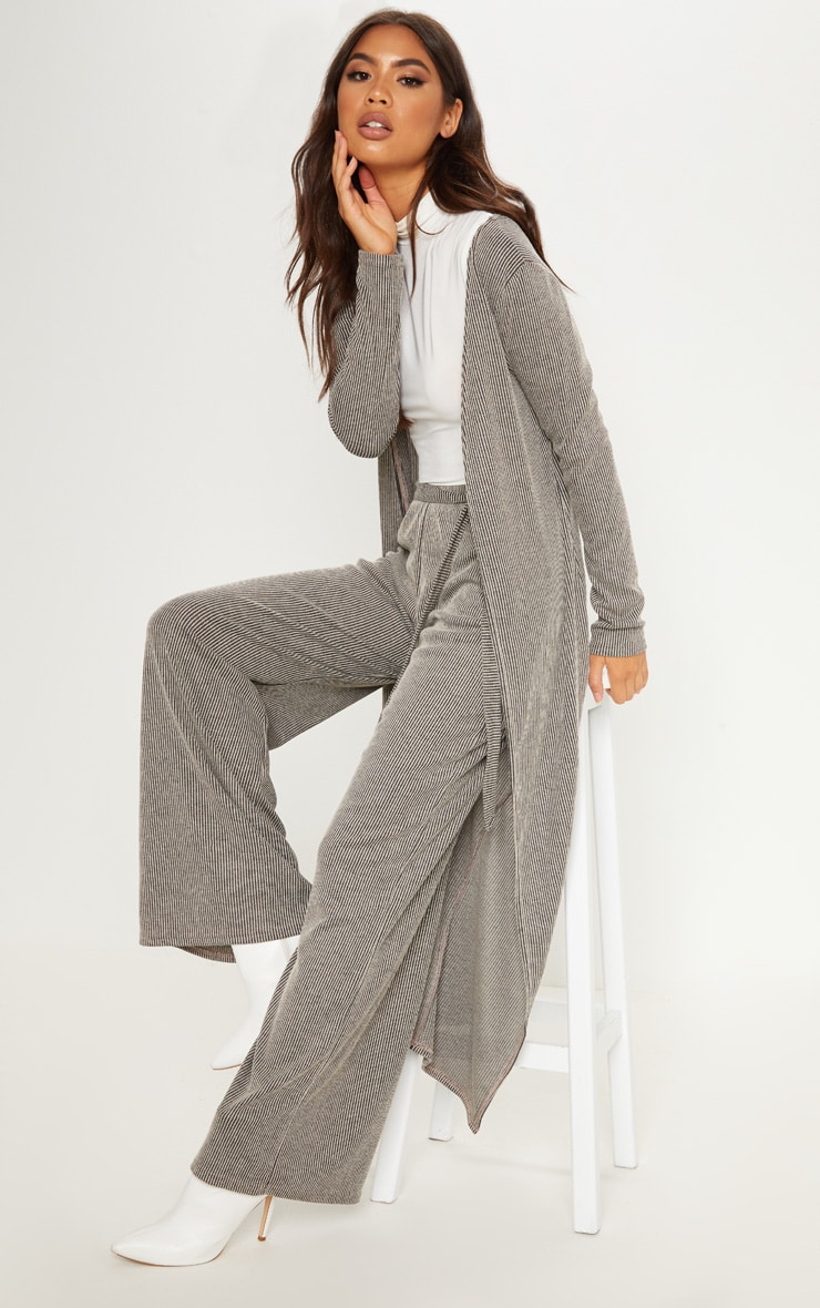 Stone Ribbed Knitted Maxi Cardigan