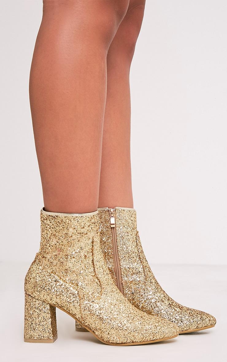 Rhianne Gold Glitter Ankle Boots 3