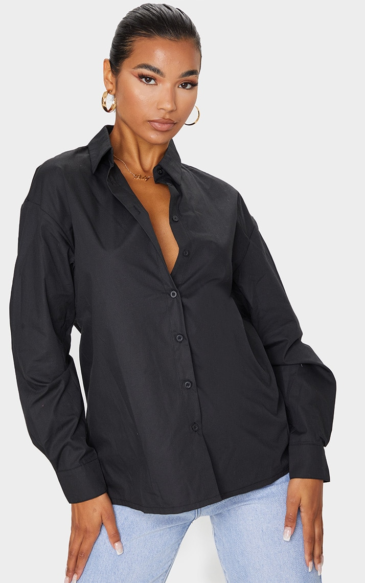 Black Button Cotton Oversized Shirt 1