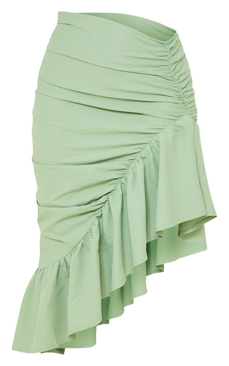 Sage Green Ruched Frill Hem Midi Skirt 5