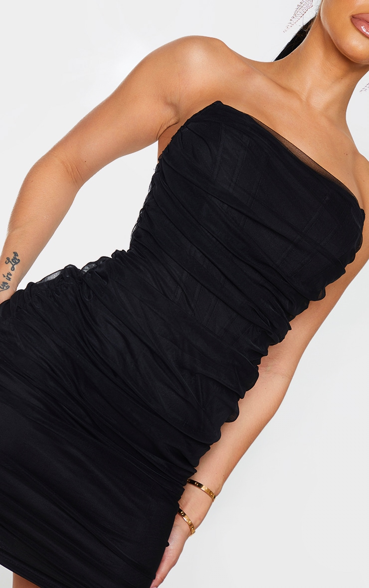 Shape Black Mesh Corset Detail Ruched Bodycon Dress 4