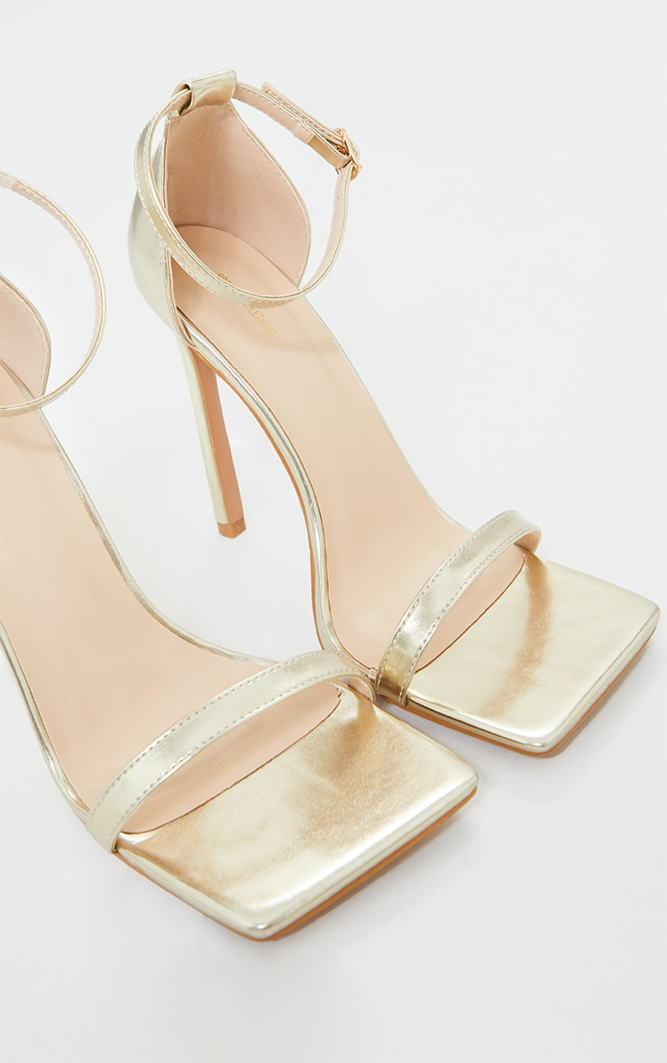 Gold Clover Barely There Strappy Squared Toe Heeled Sandals 4