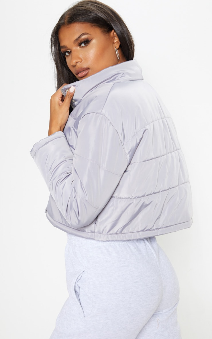 Grey Super Cropped Puffer 2