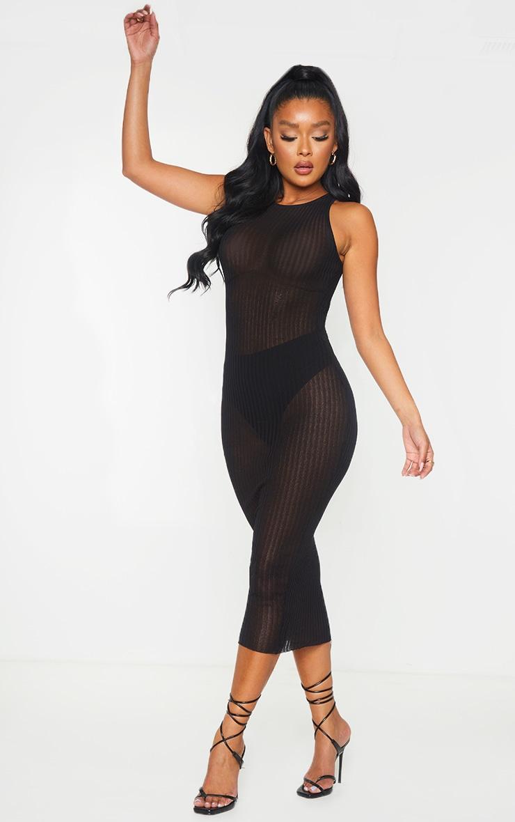 Black  Sheer Knit Underbust Detail Midi Dress 3