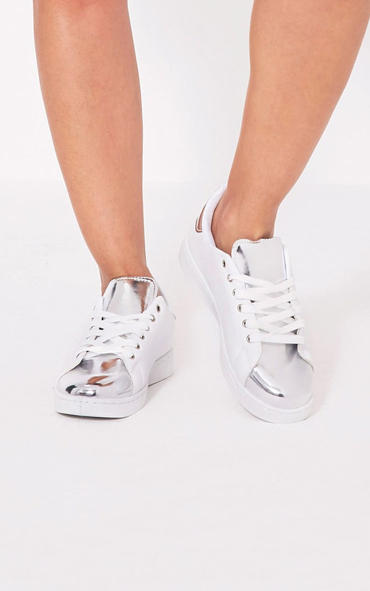 Baely Silver Metallic Toe Trainers 1