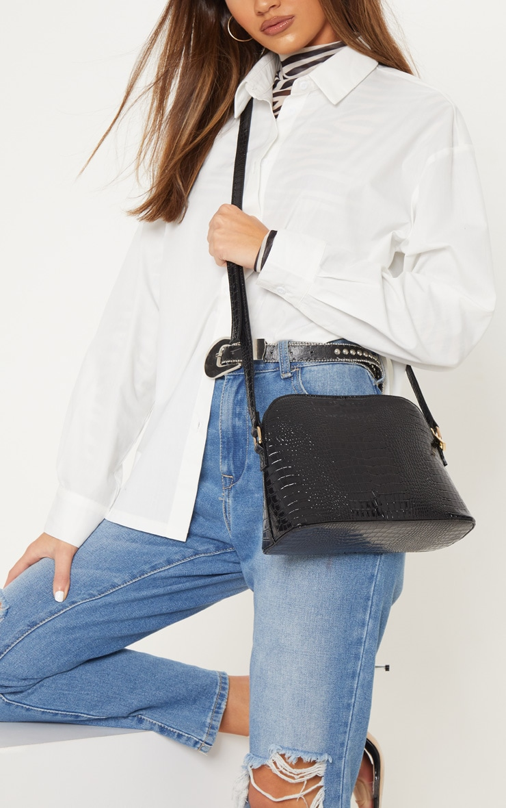 Black Croc Printed PU Cross Body 1