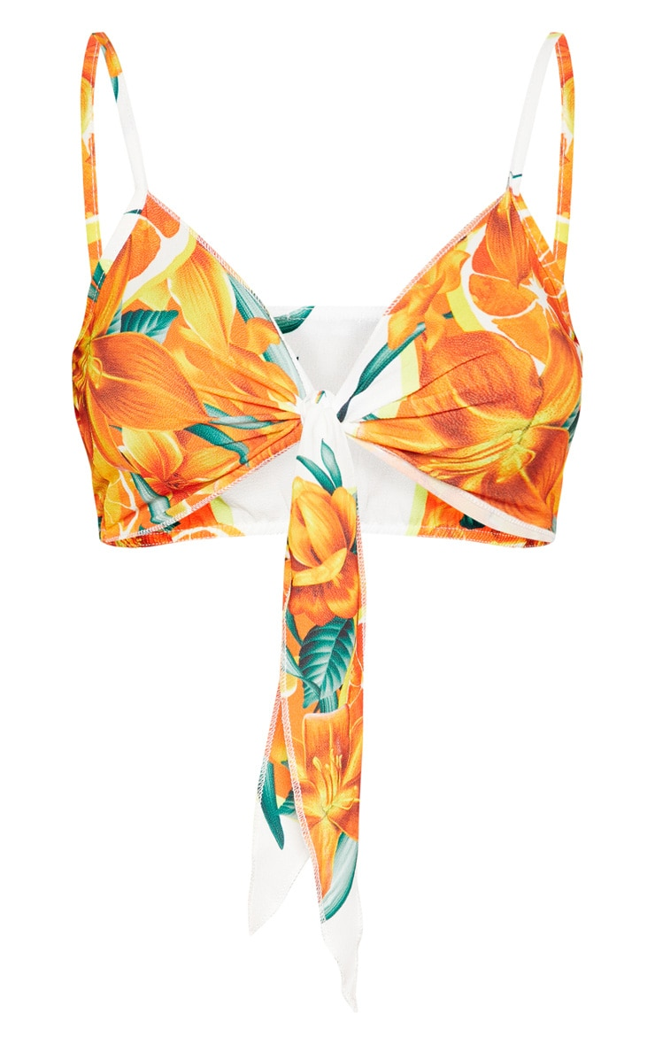 Orange Print Pebble Crepe Tie Front Bralet 3