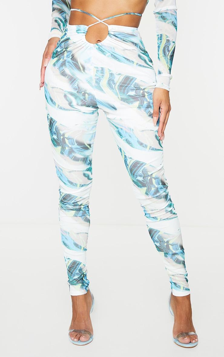 Shape Blue Marble Print Sheer Mesh Ruched Front Leggings 2