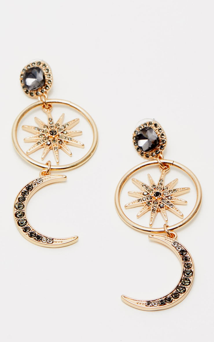 Gold Moon Star Diamante Earrings 2