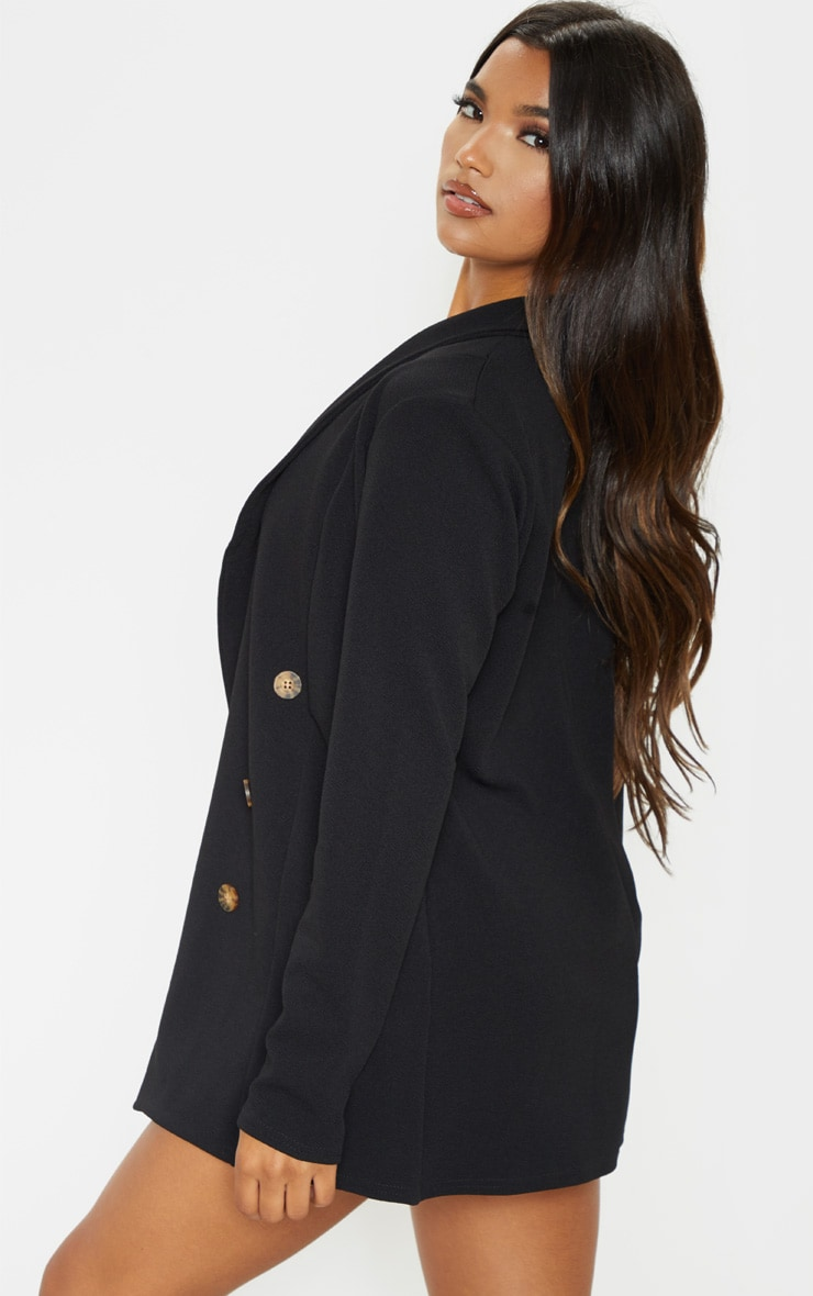 Black Oversized Button Detail Blazer 2