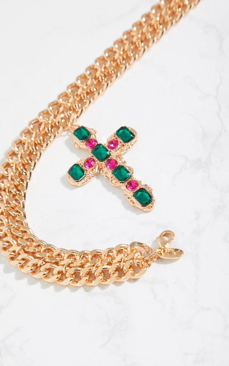 Gold Chunky Chain Green Pink Diamante Cross Choker 4