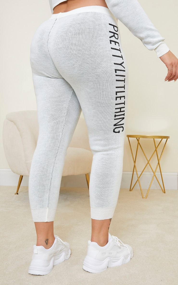 PRETTYLITTLETHING Plus Cream Knitted Joggers 3