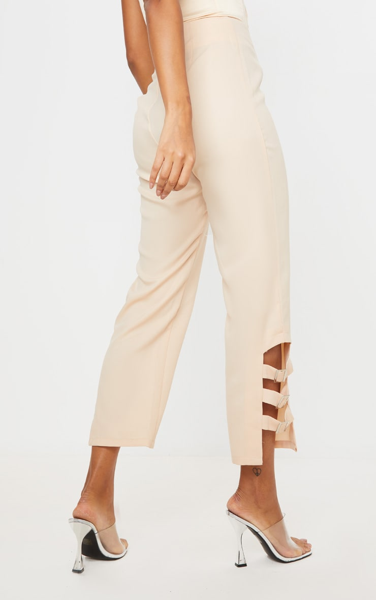 Taupe Woven Buckle Detail Straight Leg Trousers 4