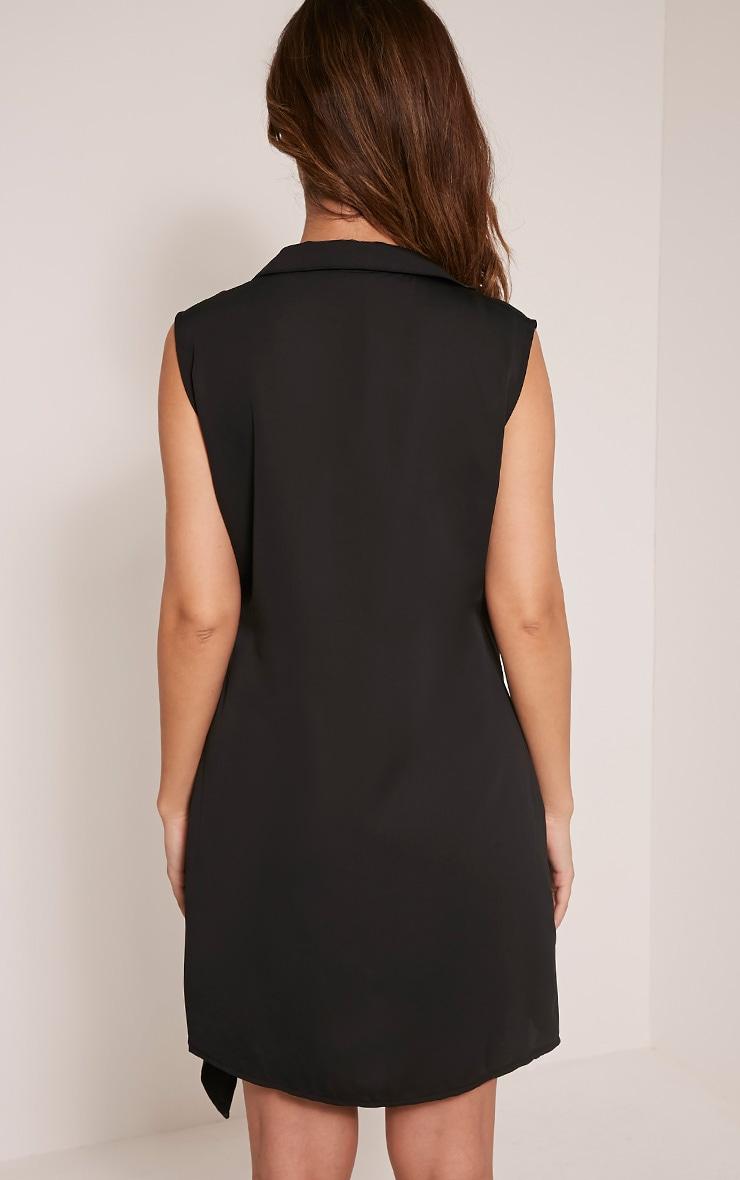 Shaylene robe chemise sans manches noire en satin à cordon à nouer à la taille 3
