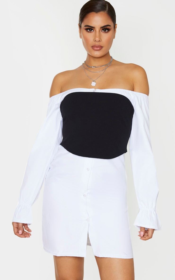 Tall White Satin Corset Oversized Shirt Dress 1