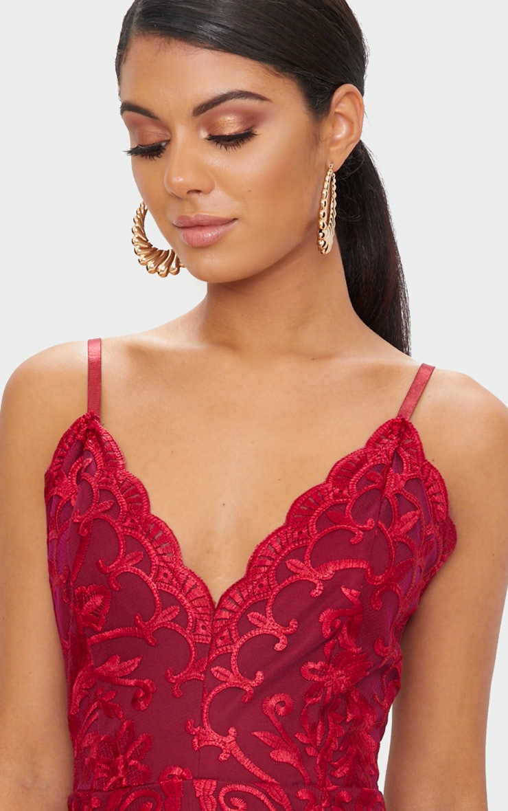 Red Embroidered Lace Detail Plunge Bodycon Dress 5