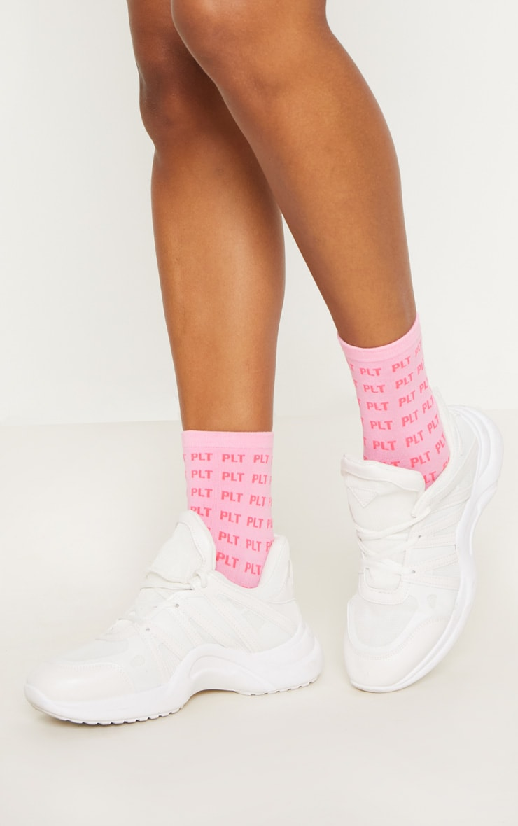 PRETTYLITTLETHING Pink Mono Ankle Socks 1