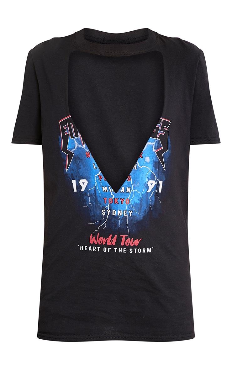 Lightning Black Slogan Extreme Plunge T Shirt 3
