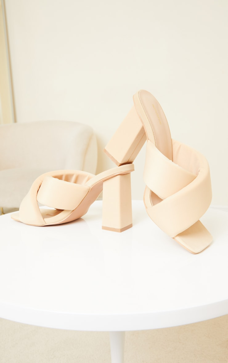 Beige Square Toe Quilted Cross Over Block Heel Mules 3