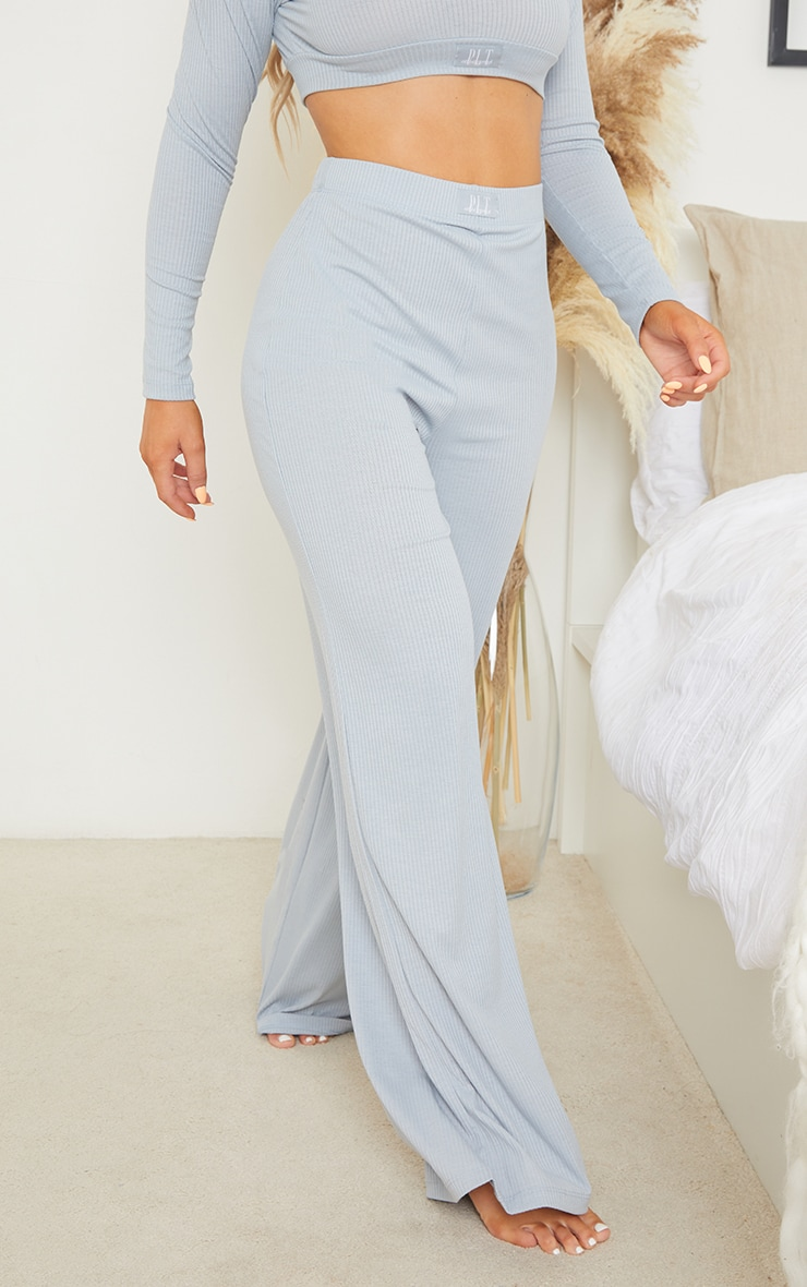 PRETTYLITTLETHING Dreams Baby Blue Badge Mix and Match Rib Wide Leg PJ Bottoms 2