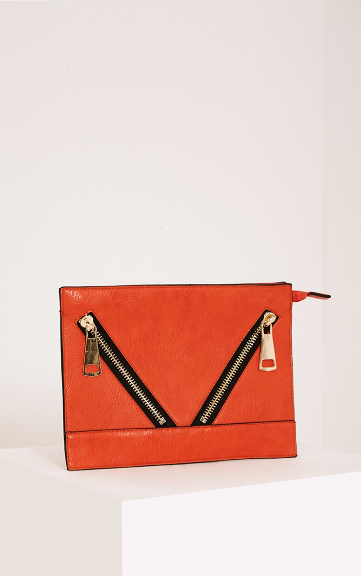 Tay Coral Zip Detail Clutch Bag 1