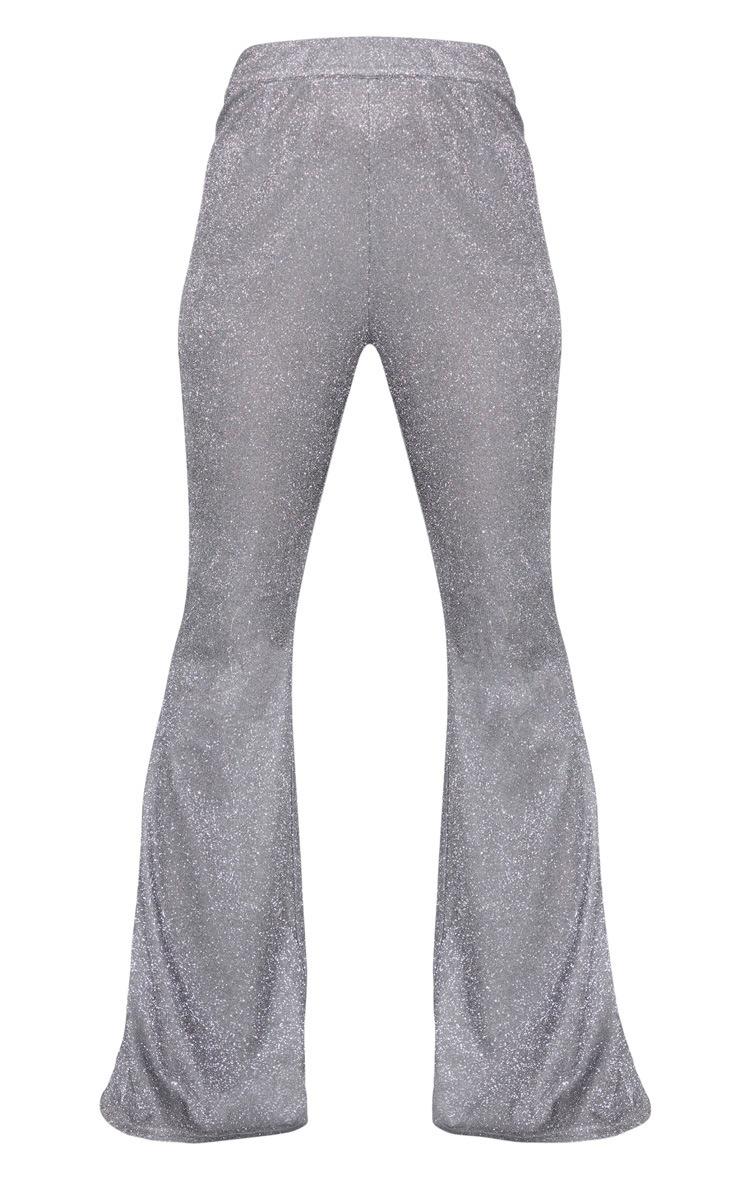 Silver Glitter Flare Leg Pants 3