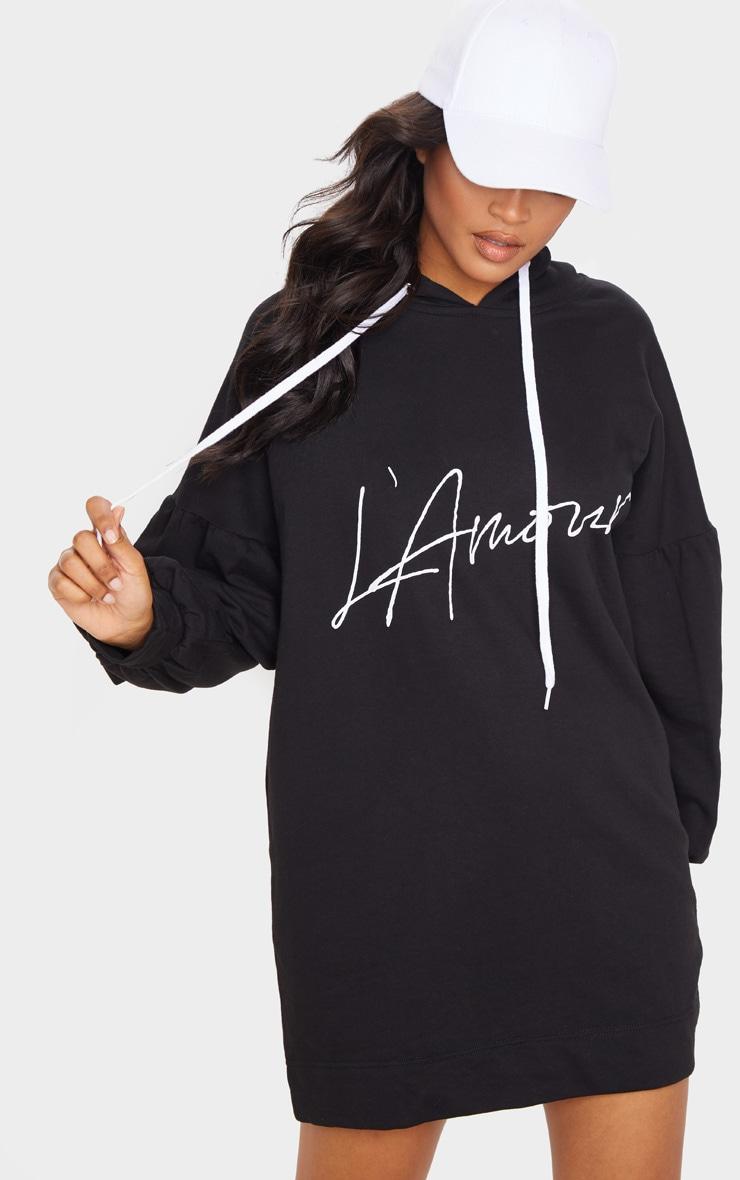 Black Lamour Pleated Sleeve Hoodie Jumper Dress 1