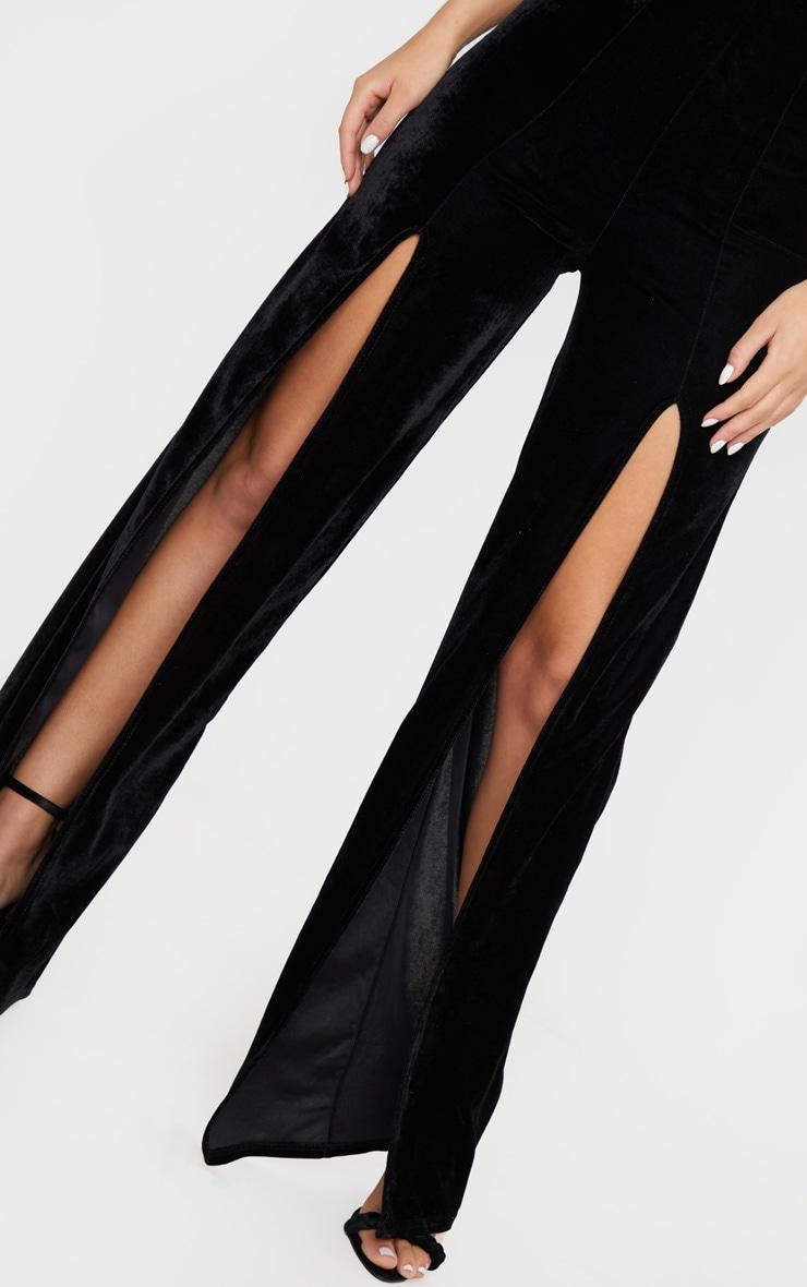Black Velvet Halterneck Wide Leg Jumpsuit 5