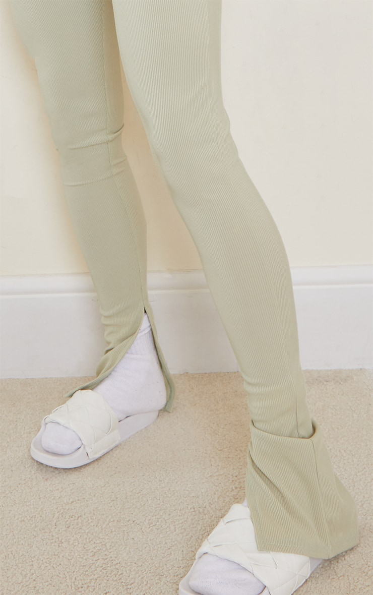 Sage Khaki Ribbed Split Hem Leggings 4