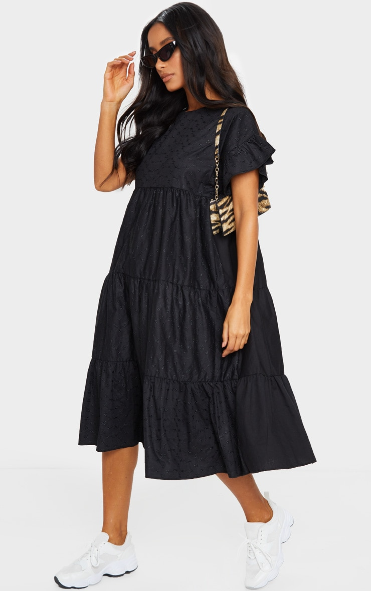 Black Broderie Anglaise Tiered Smock Midi Dress 3