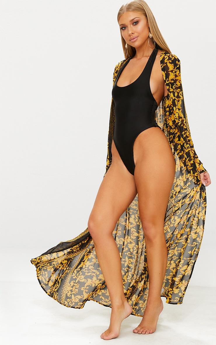 Kimono de plage noir imprimé chaîne 3