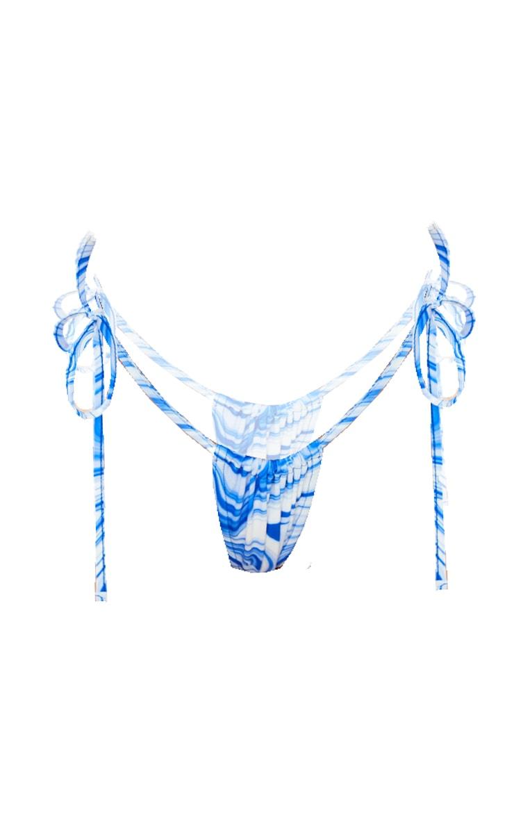 Blue Swirl Tie Side Bikini Bottoms 5