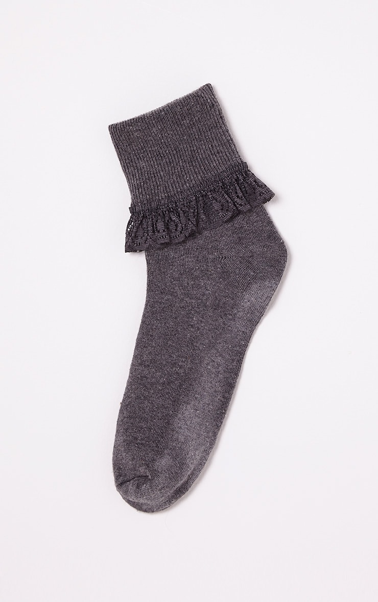 Kimber Grey Lace Trim Ankle Sock 4