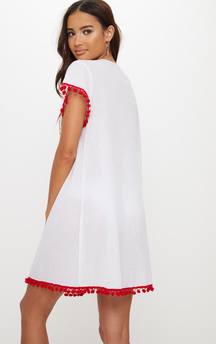 White Embroidered Pom Pom Trim Smock Dress 2