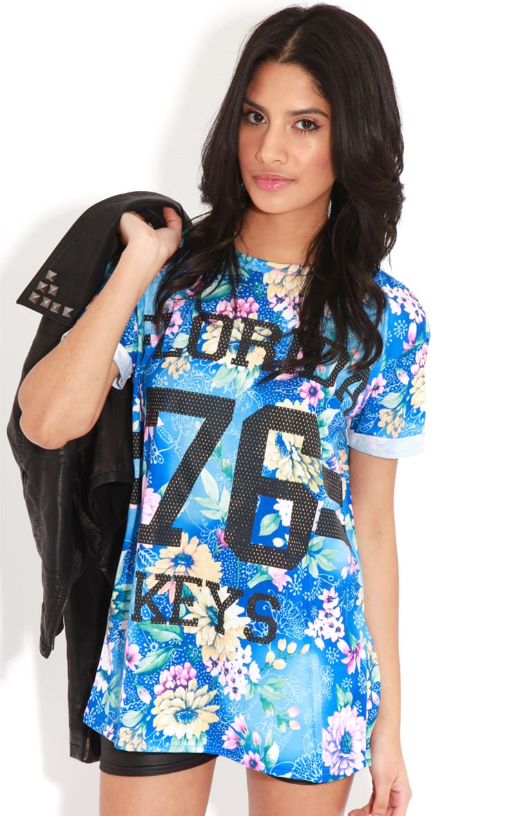 Layla Blue Floral Florida 76 Sports Tee 4